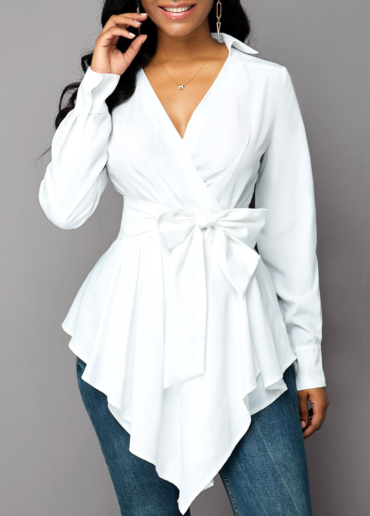 Belted Asymmetric Hem Long Sleeve Blouse