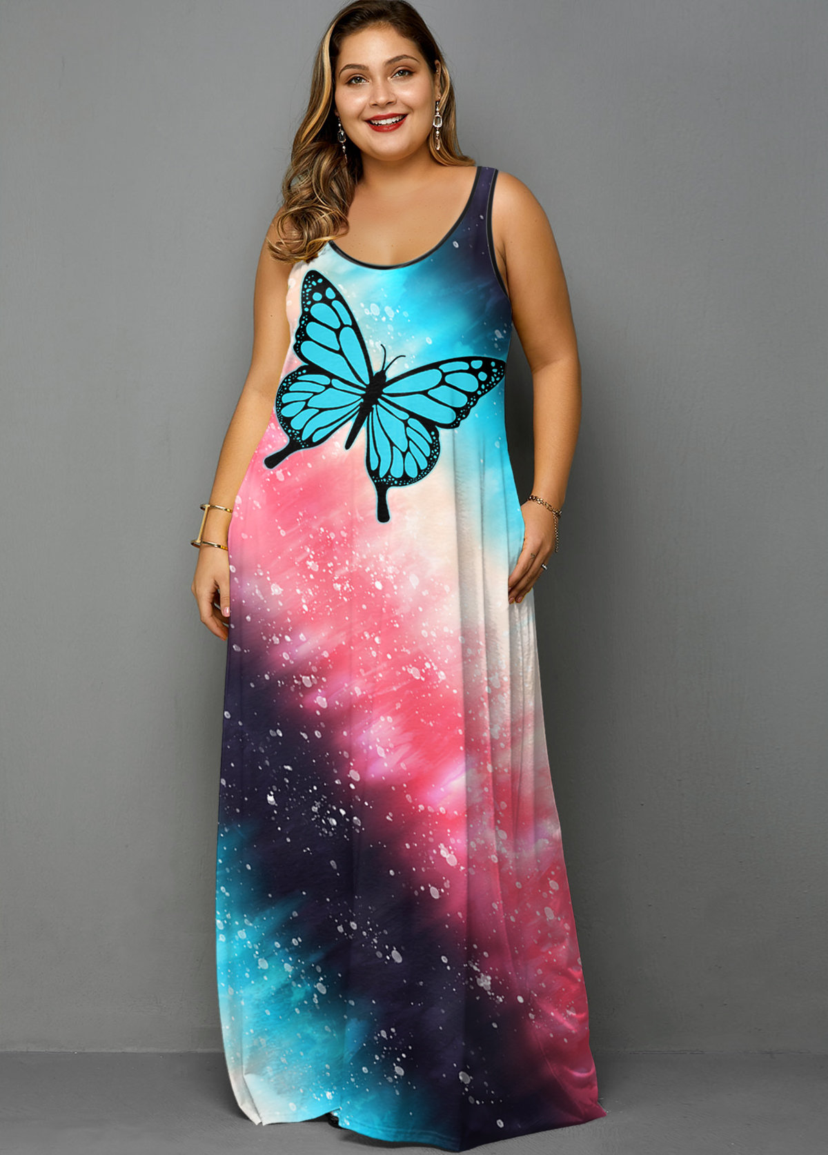 Plus Size Tie Dye Butterfly Ombre Dress