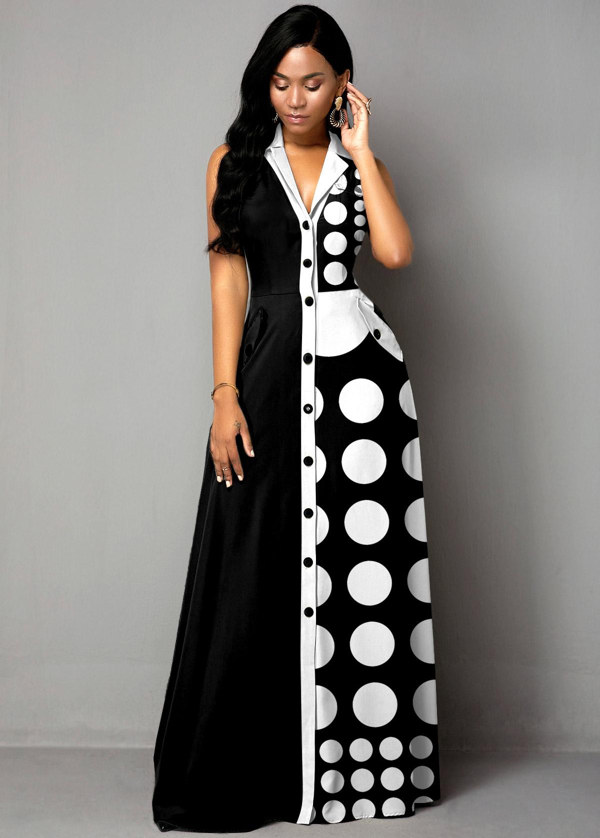 Polka Dot Color Block Button Up Maxi Dress