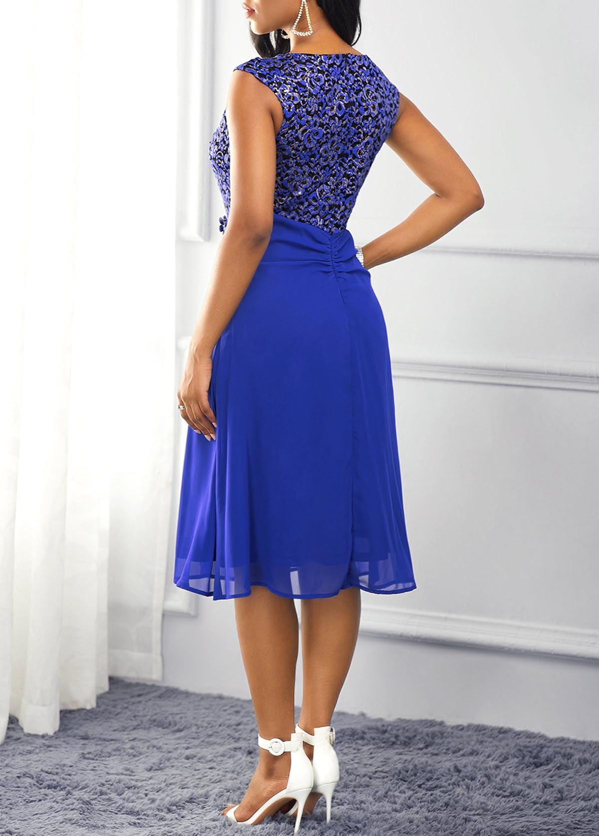 Royal Blue Lace Panel Ruffle Trim Dress