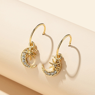 Star and Crescent Shape Rhinestone Detail Earring Set