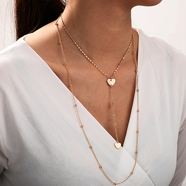 Layered Heart Design Gold Metal Necklace