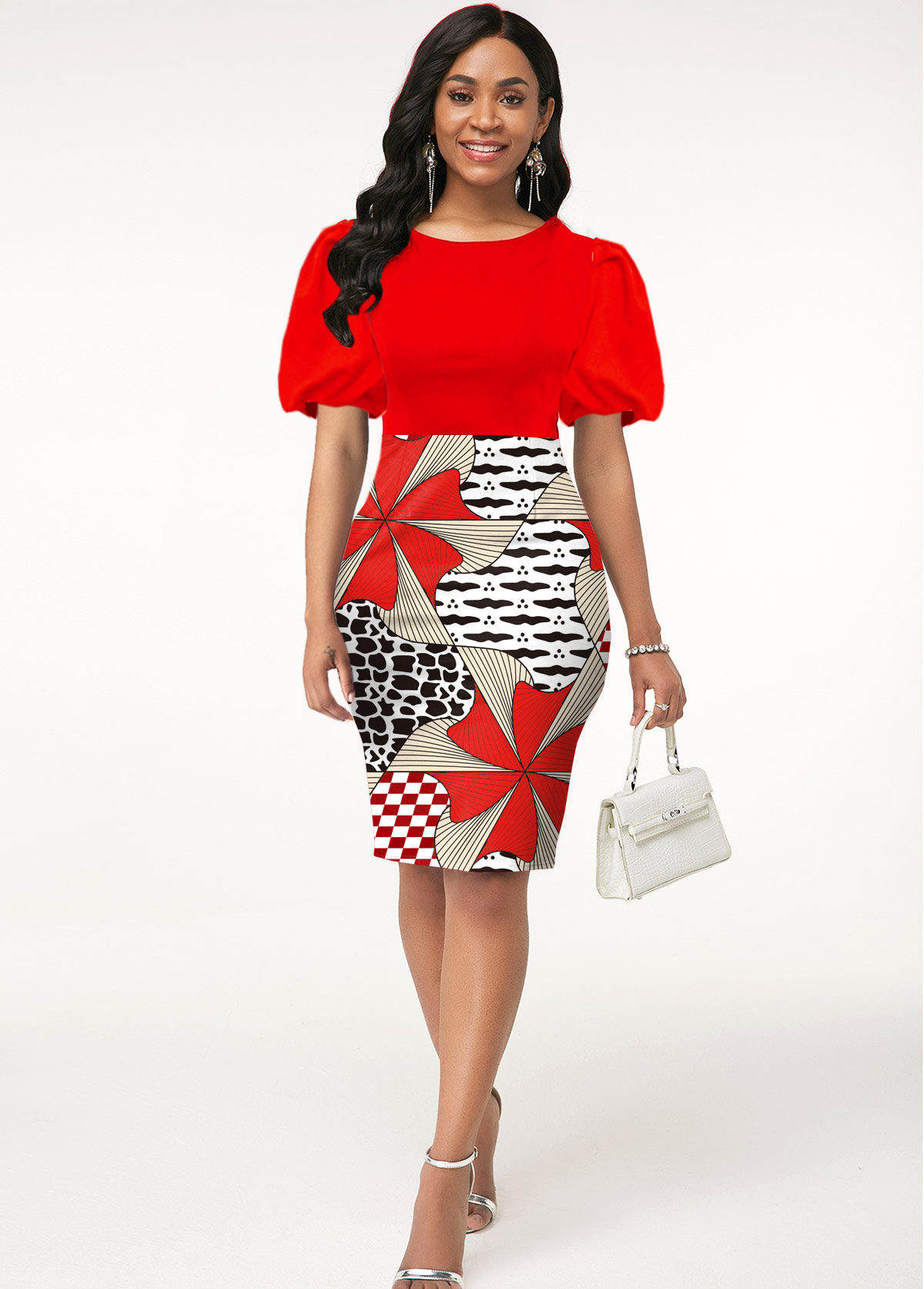 Geometric Print Round Neck Puff Sleeve Dress