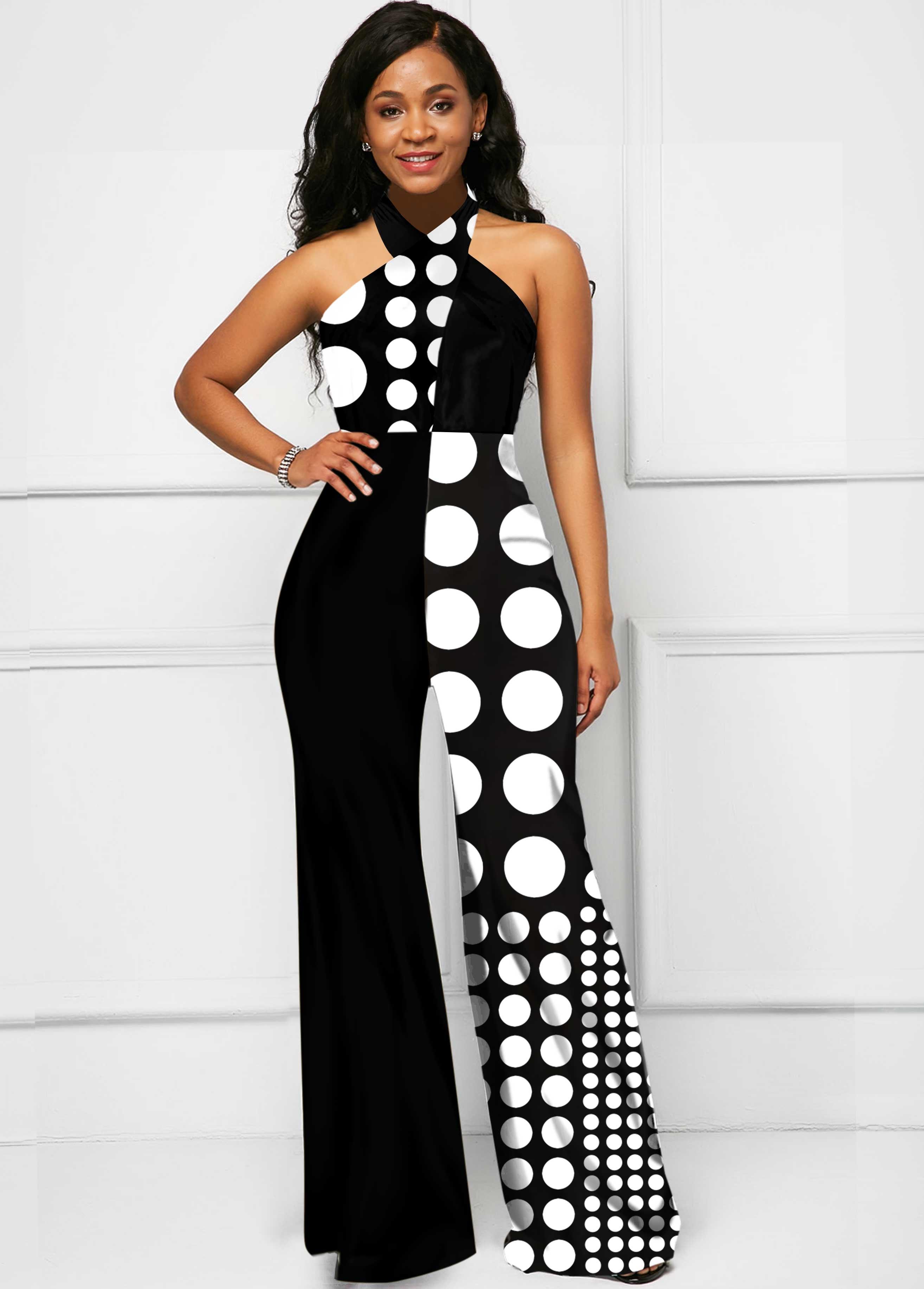 Black Polka Dot Cross Halter Jumpsuit