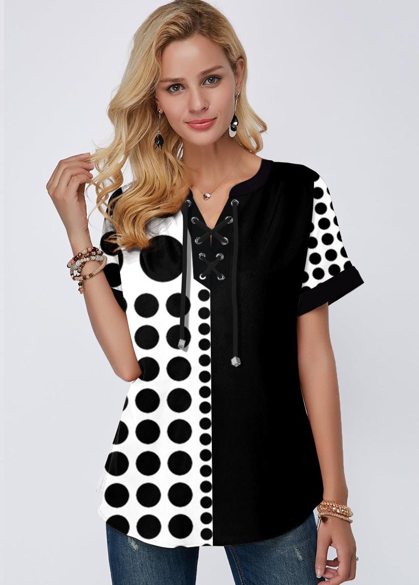 Short Sleeve Polka Dot Lace Up Blouse