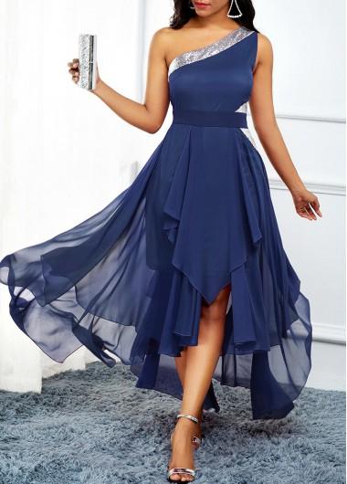 Navy Blue Asymmetric Hem One Shoulder Dress