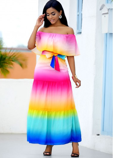 Rosewe coupon: Rosewe Wedding Guest Dress Ruffle Overlay Rainbow Color Printed Maxi Dress - S