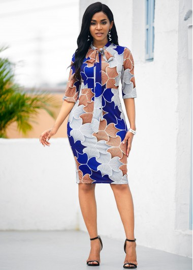 Tie Neck Half Sleeve Tribal Print Dress