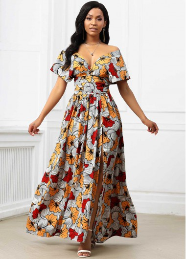 Rosewe coupon: Rosewe Wedding Guest Dress High Slit Tribal Print Plunging Neck Dress - M