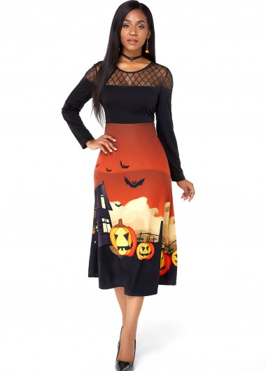 Mesh Panel Halloween Crazy Pumpkin Long Sleeve Dress