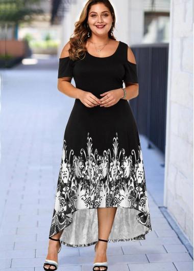 Floral Print Cold Shoulder Plus Size High Low Dress