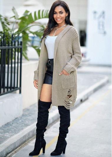 Pocket Hooded Collar Open Front Cardigan