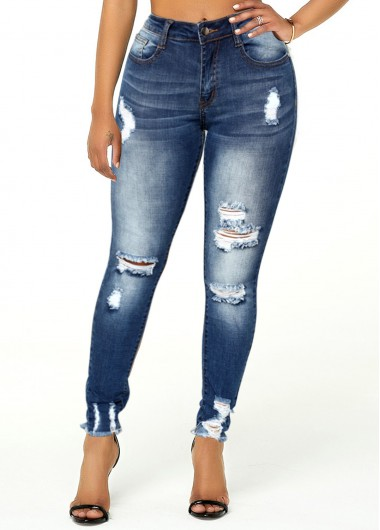 Rosewe Acid Washed Frayed Hem Shredded Jeans - XS