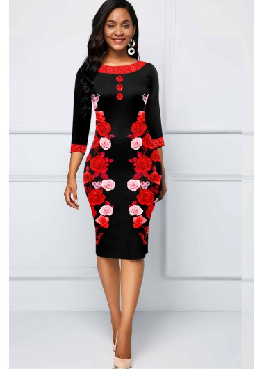 Floral Print Three Quarter Sleeve Dress