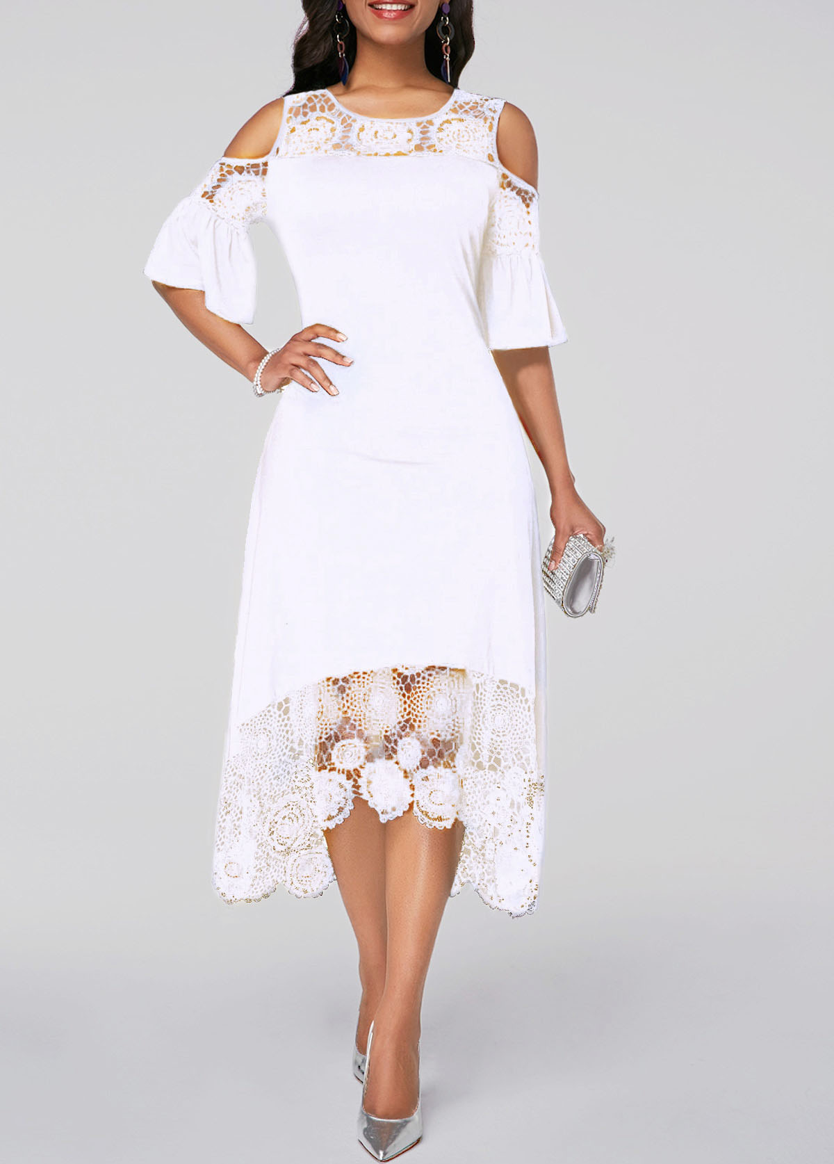 Flare Cuff Lace Panel Cold Shoulder White Dress