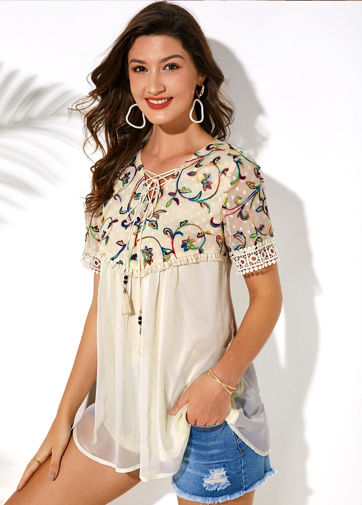 Short Sleeve Embroidered Lace Up T Shirt