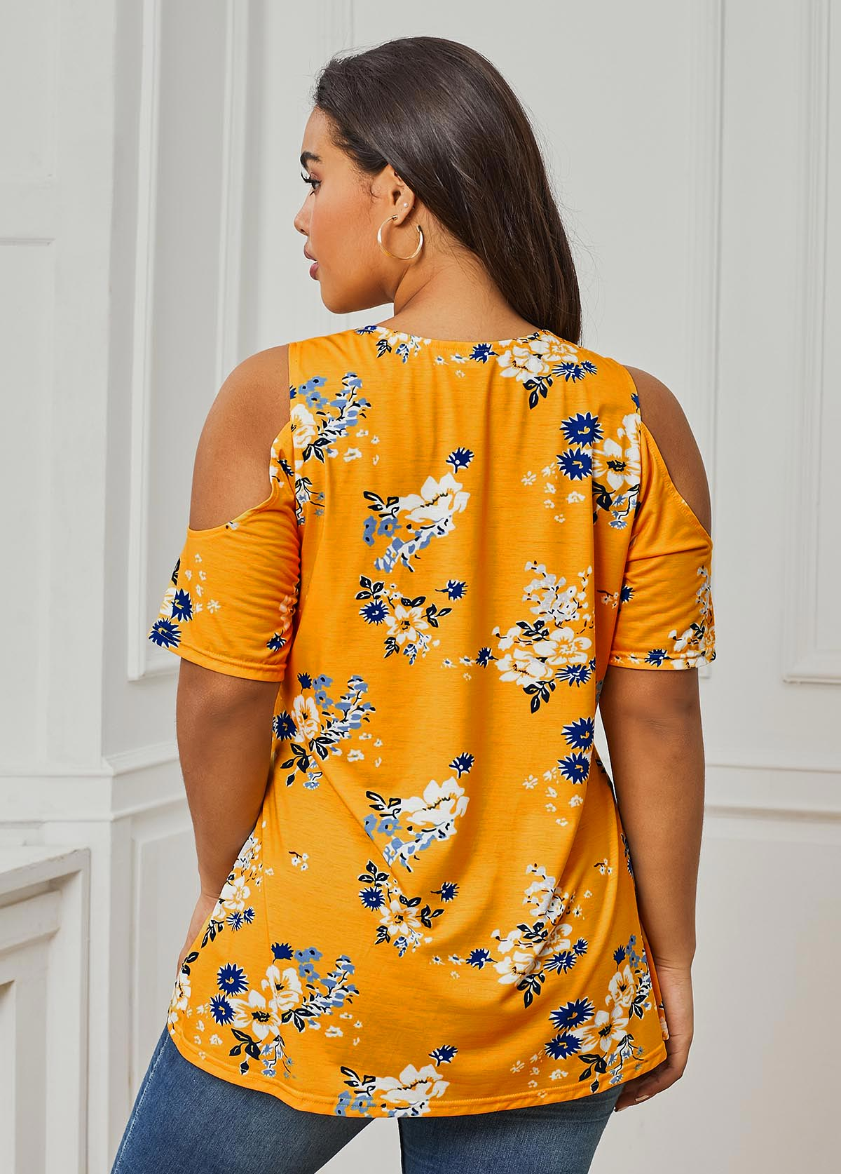 Cold Shoulder Plus Size Yellow Round Neck T Shirt