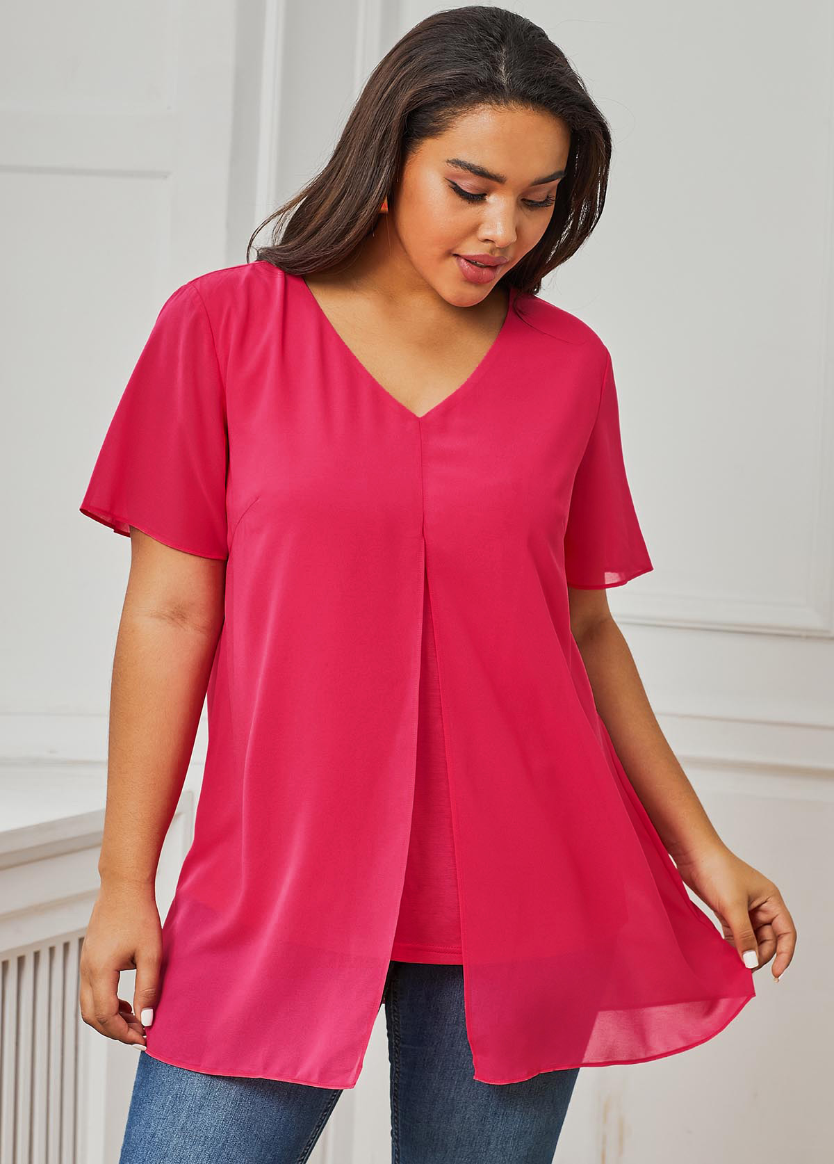 Pink V Neck Short Sleeve Plus Size T Shirt