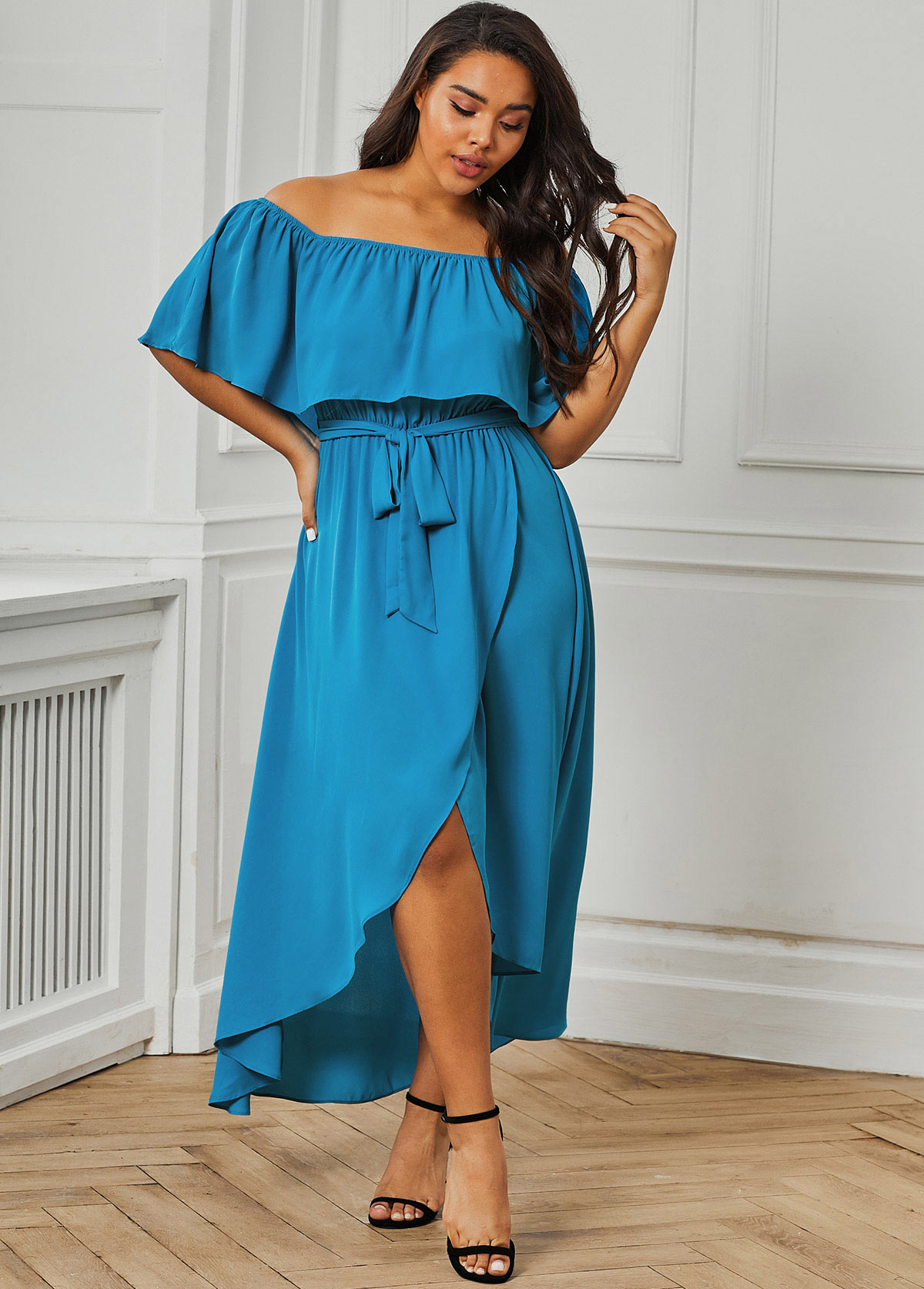Ruffle Overlay Crossover Hem Plus Size Dress