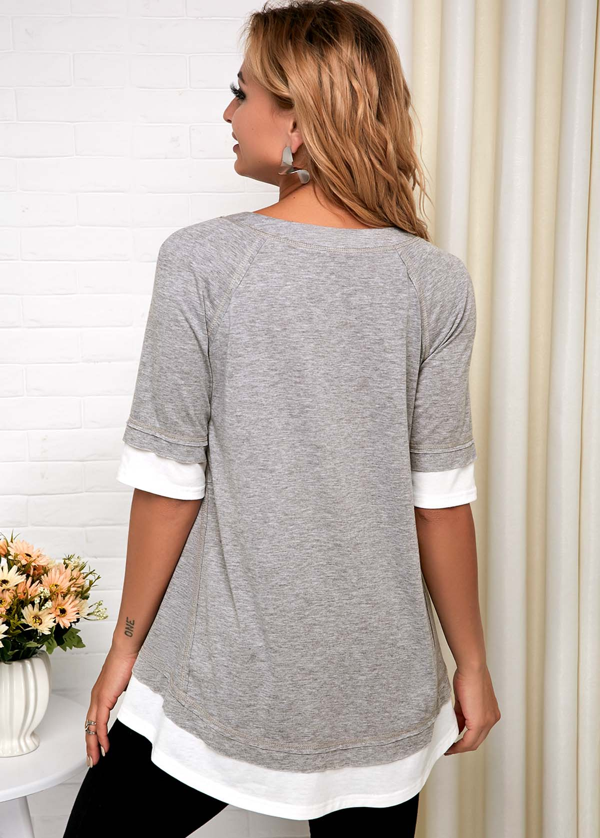 Faux Two Piece Grey V Neck T Shirt