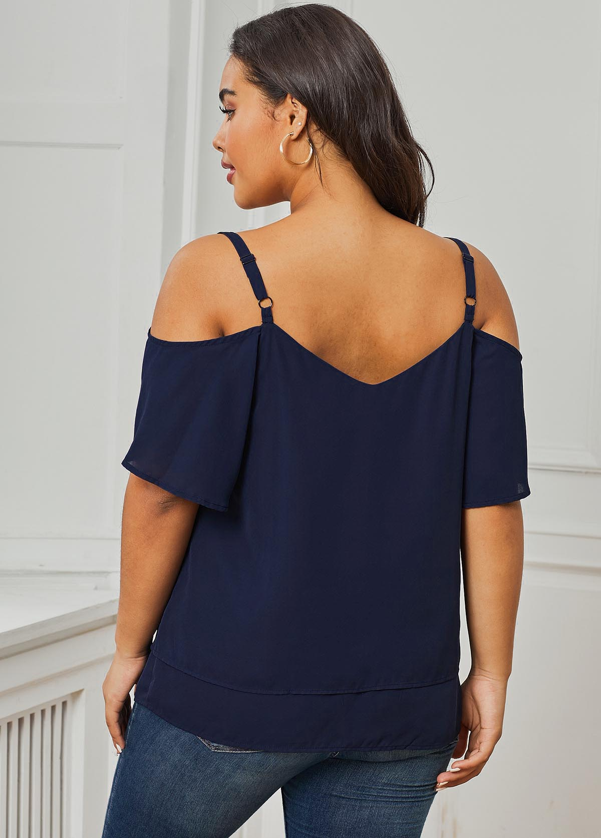 Plus Size Double Hem Frill Cold Shoulder T Shirt