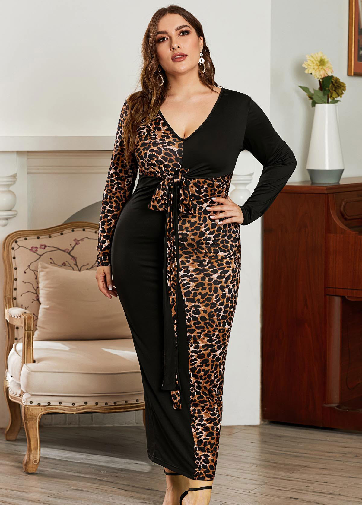 Leopard Print Knot Detail Plus Size Maxi Dress