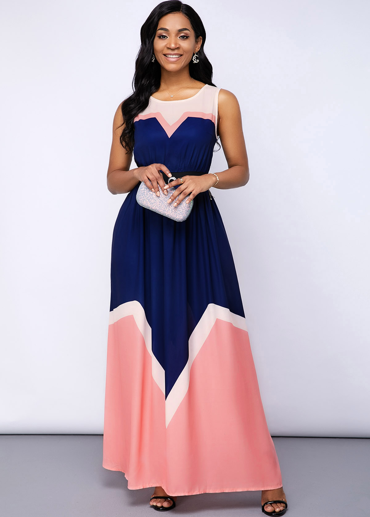 Round Neck Sleeveless Contrast Maxi Dress