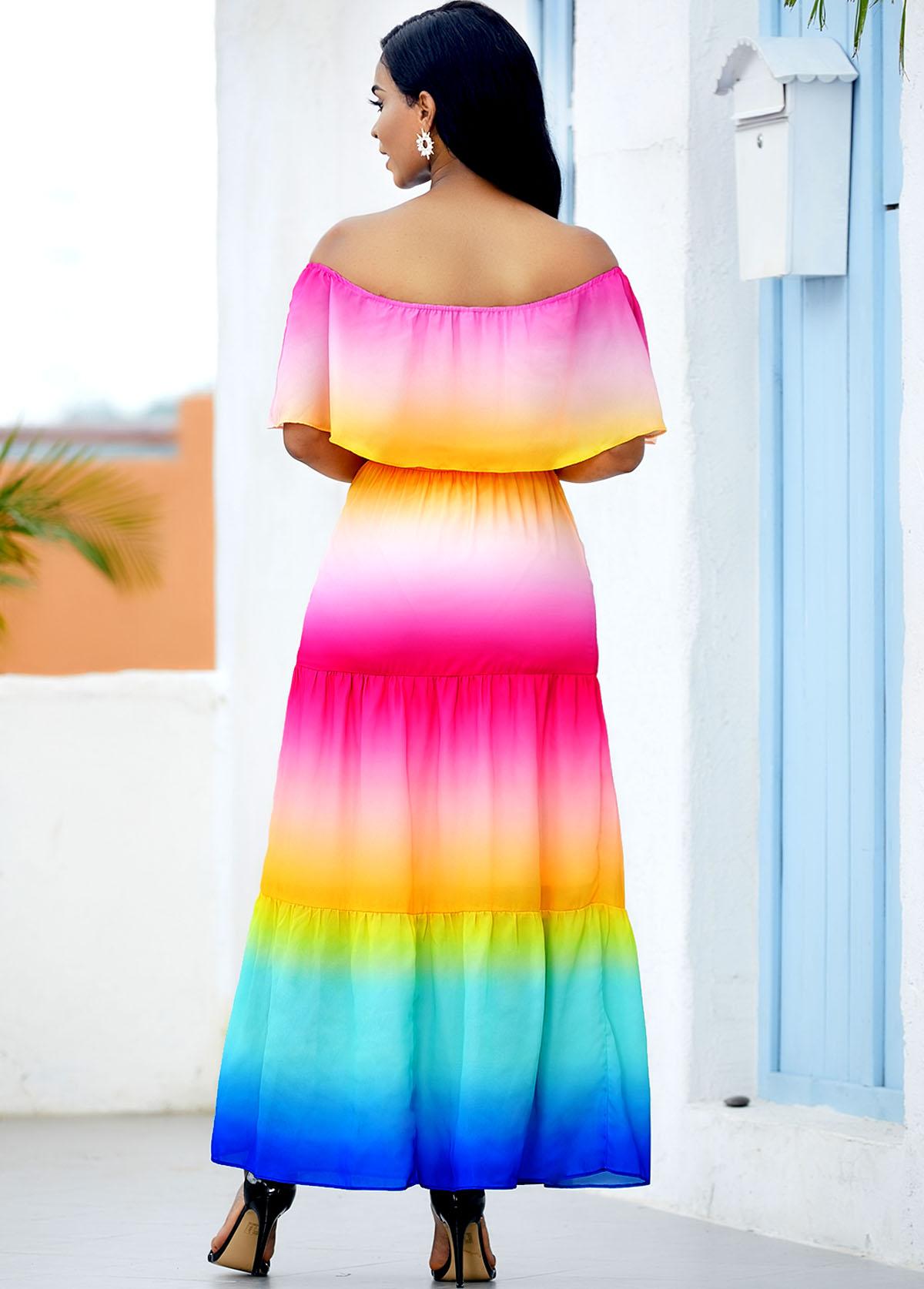 Ruffle Overlay Rainbow Color Printed Maxi Dress