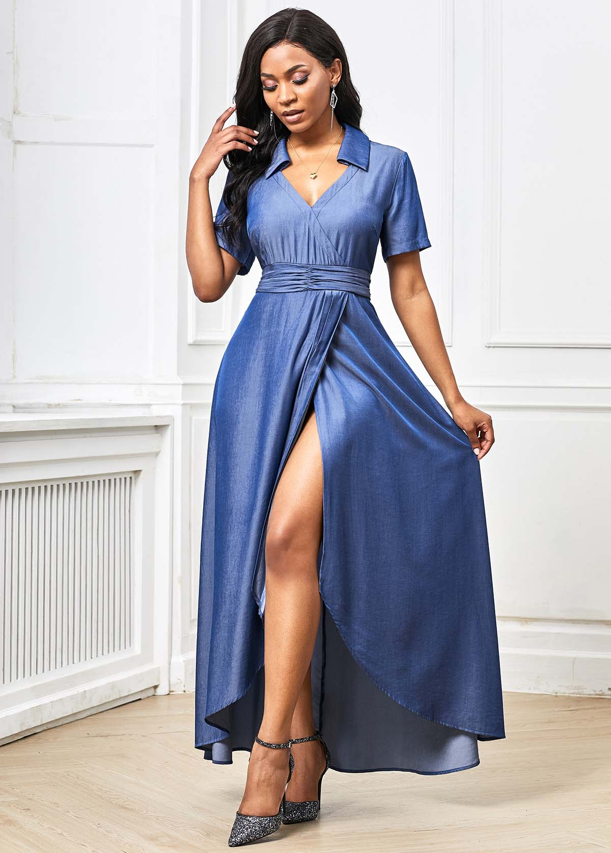 Short Sleeve Asymmetric Hem Plunging Neck Maxi Dress