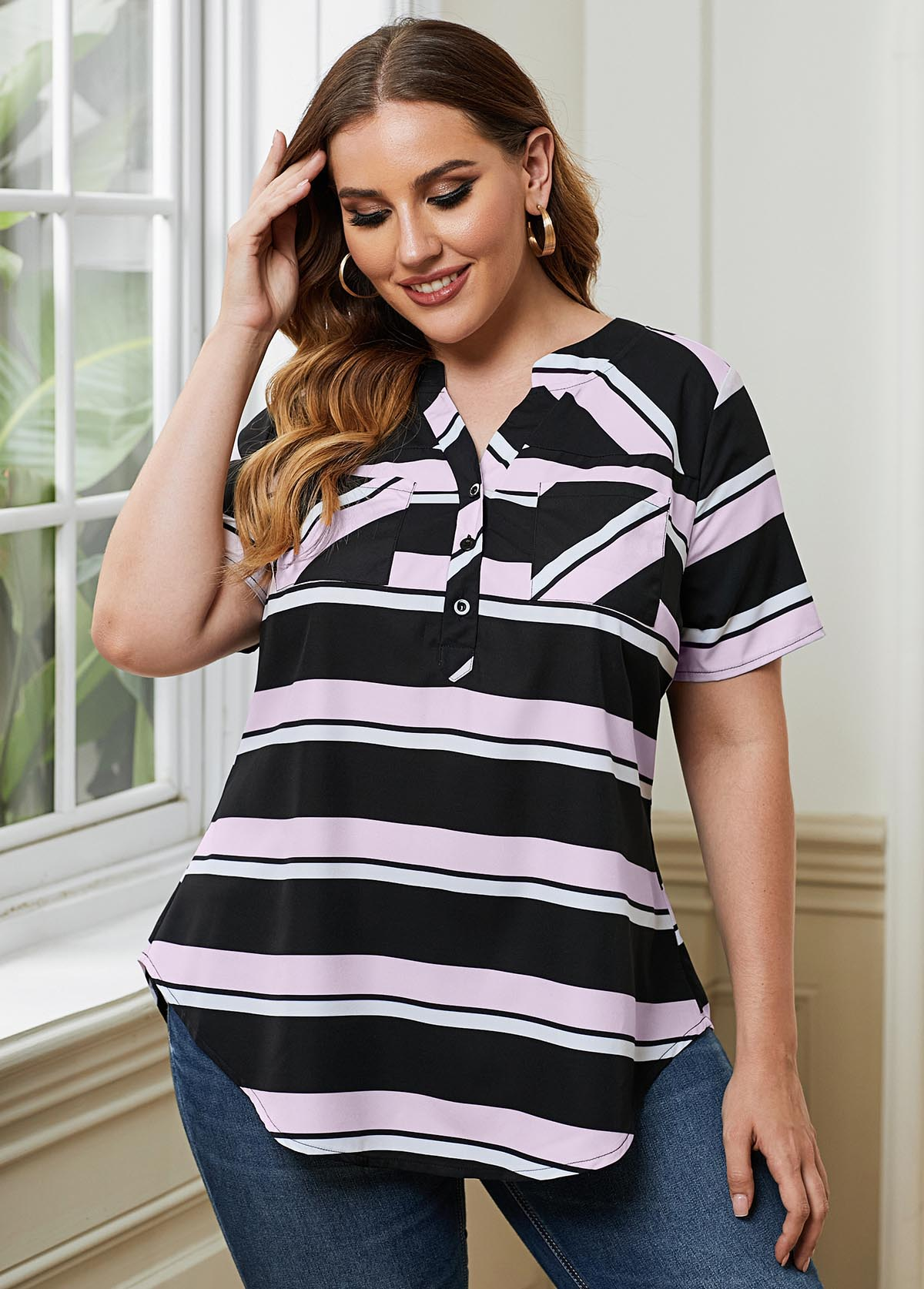Monochrome Stripe Split Neck Plus Size Blouse