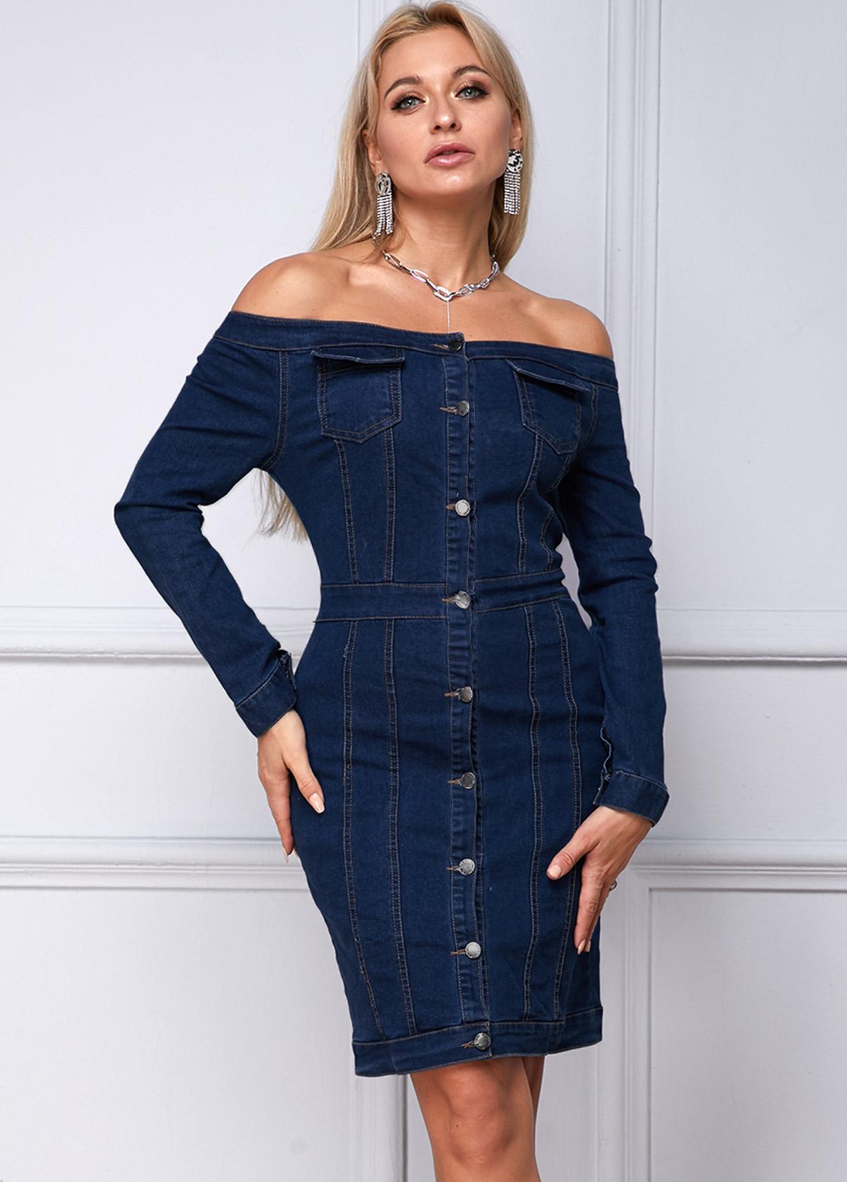 Button Up Boat Neck Long Sleeve Denim Dress