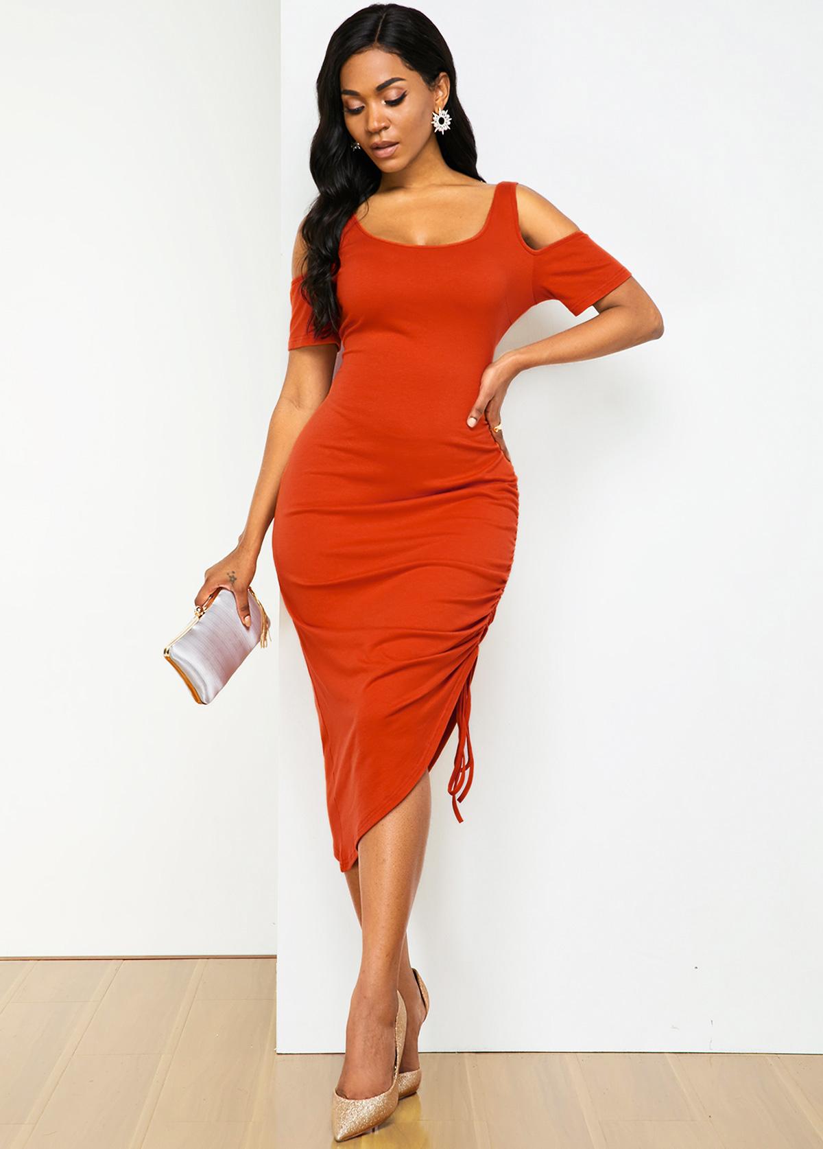 Drawstring Detail Asymmetric Hem Cold Shoulder Soft Dress