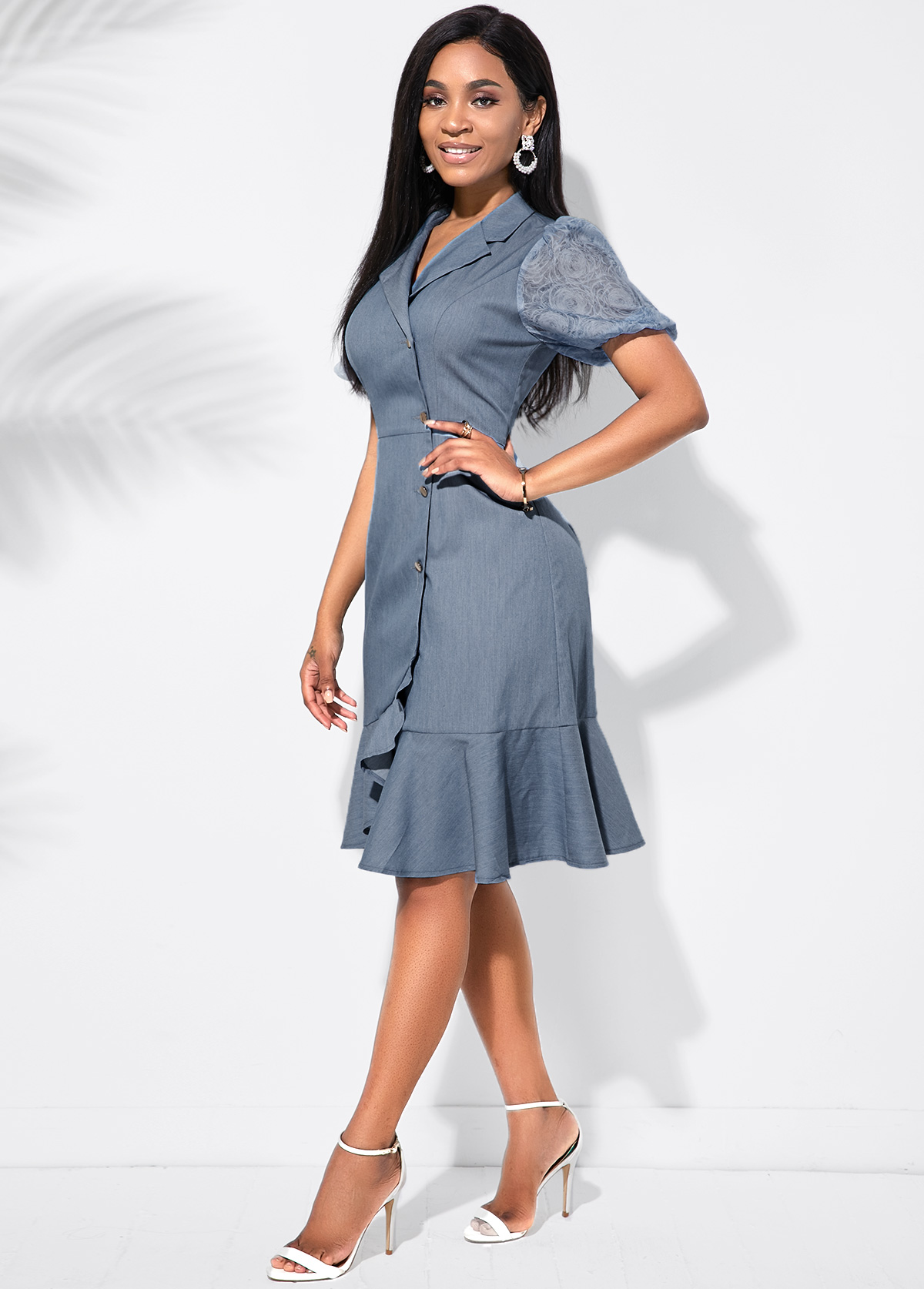 Notch CRuffle Hem Inclined Button ollar Dress