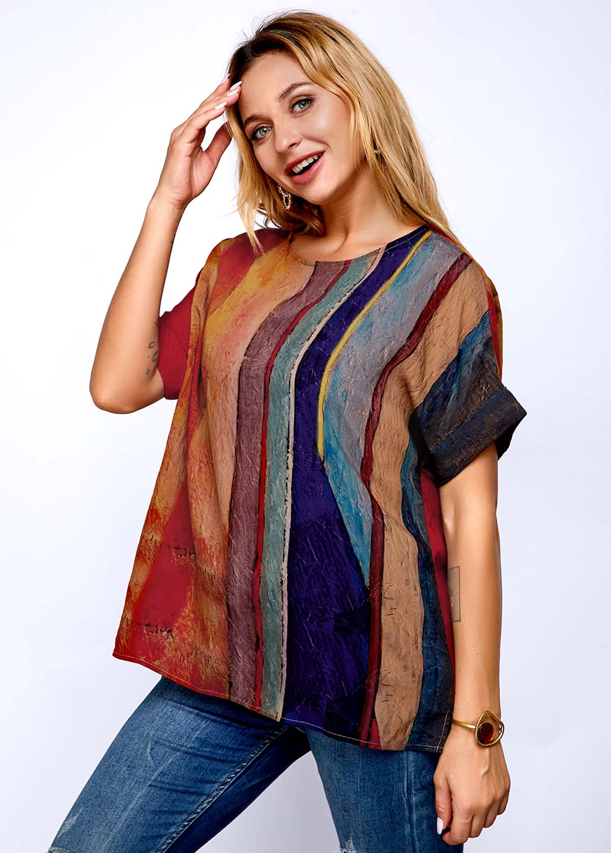 Stripe Print Short Sleeve Round Neck T Shirt