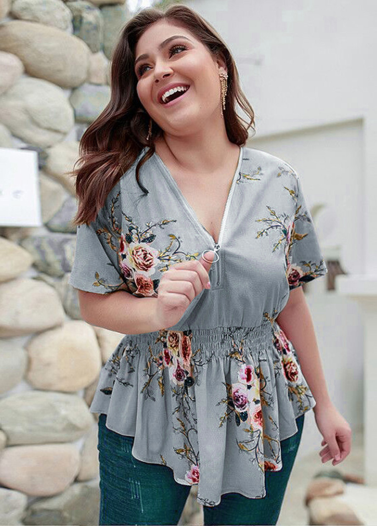 Plus Size Floral Print Short Sleeve T Shirt