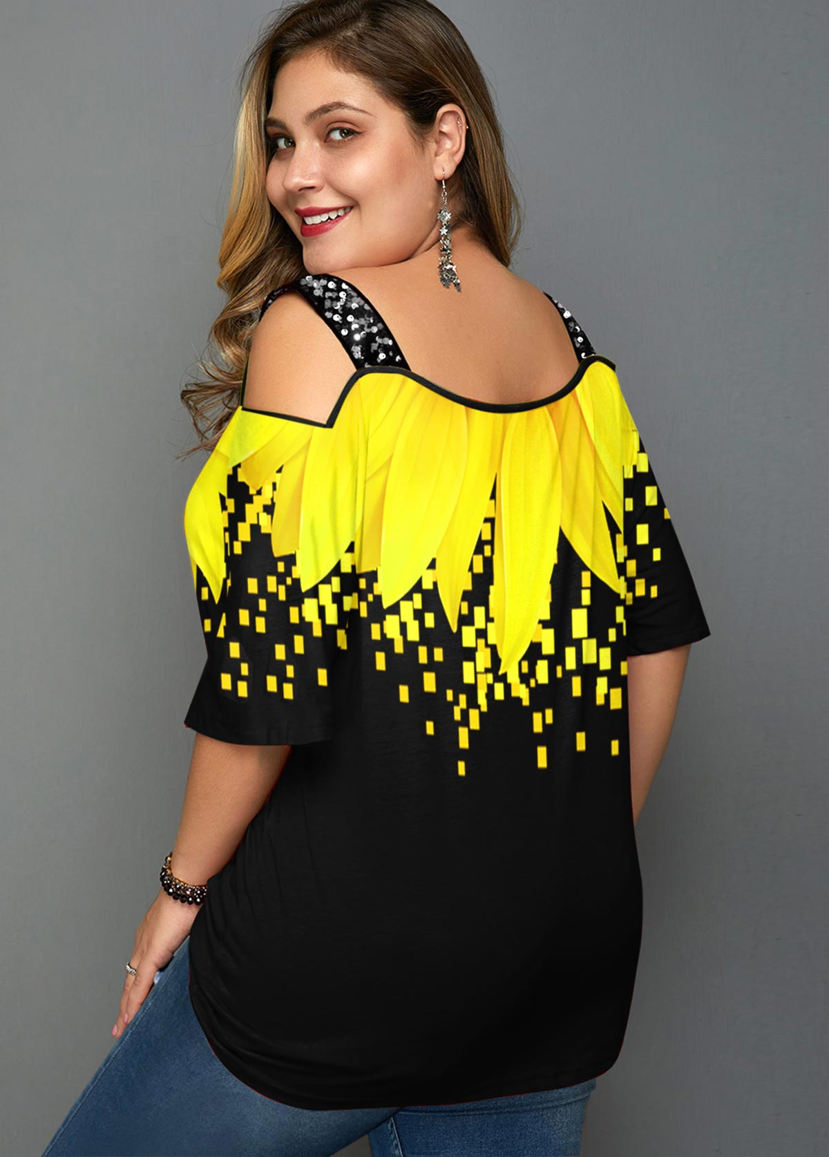 Sunflower Print Cold Shoulder Plus Size T Shirt