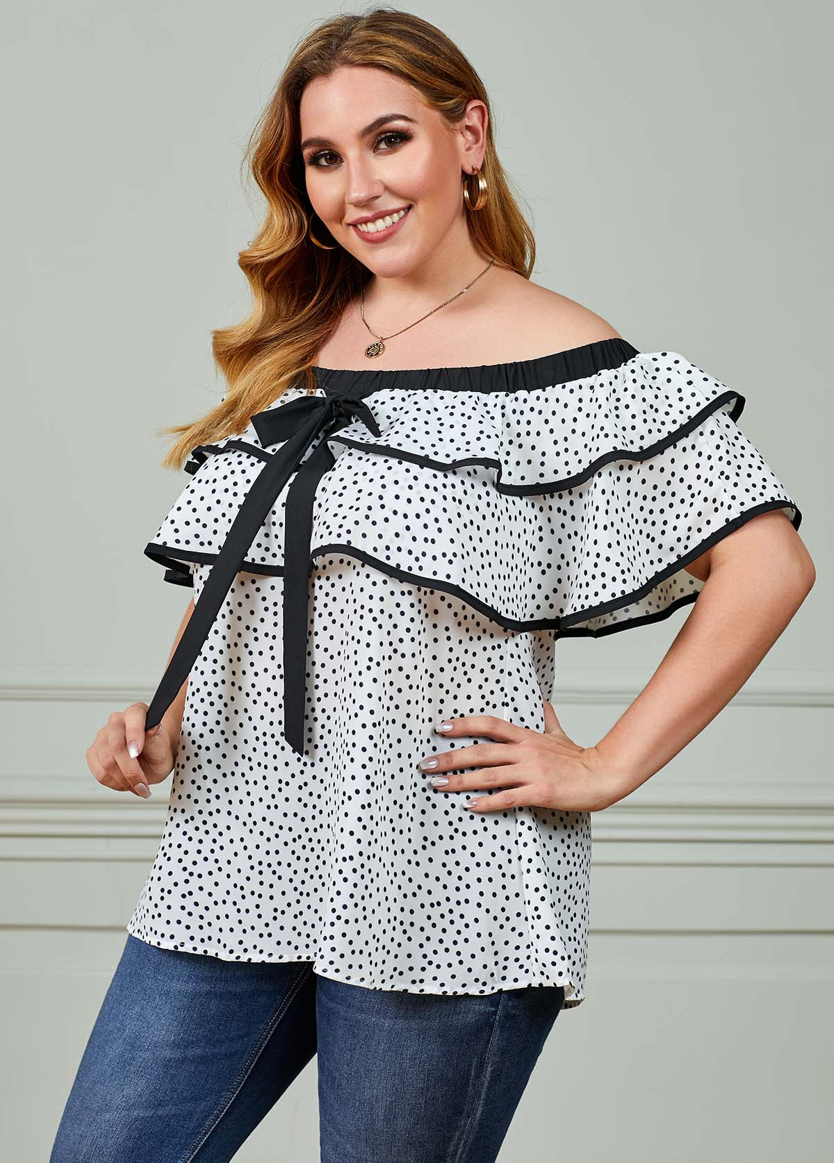 Off the Shoulder Polka Dot Plus Size T Shirt