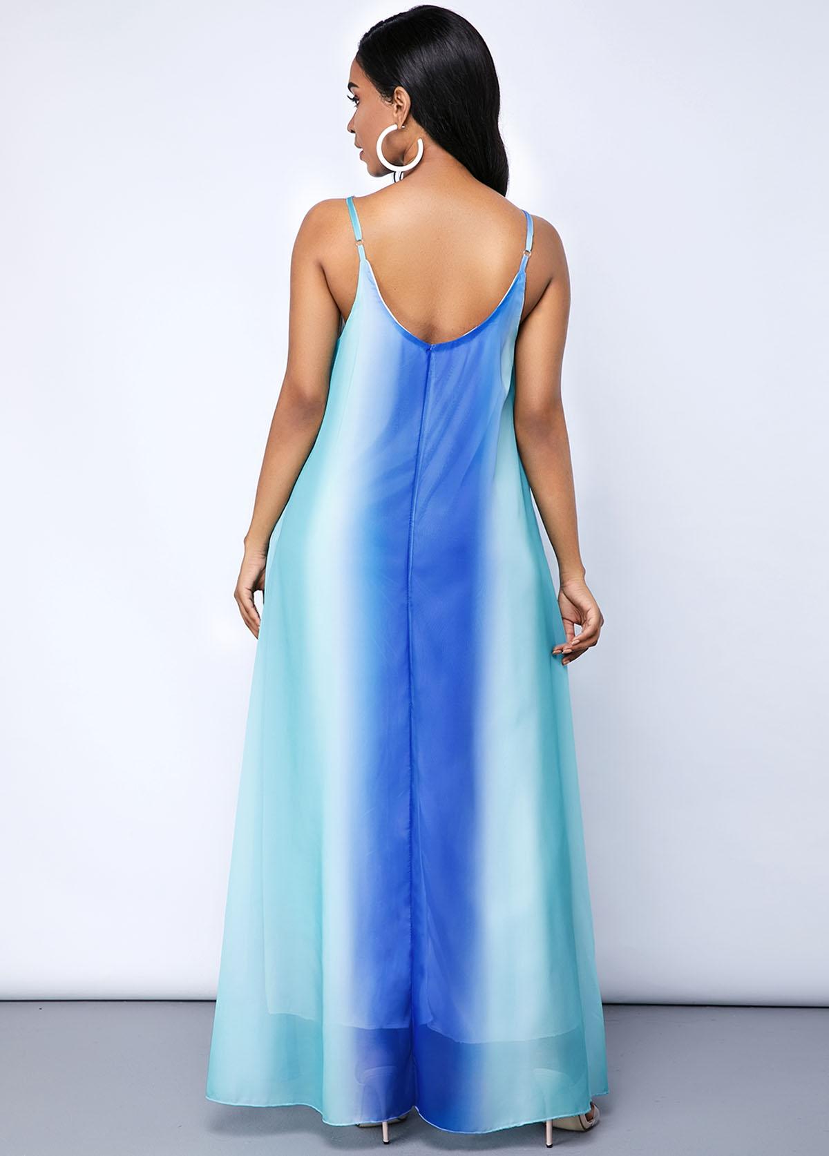 Pocket Tie Dye Print Spaghetti Strap Maxi Dress