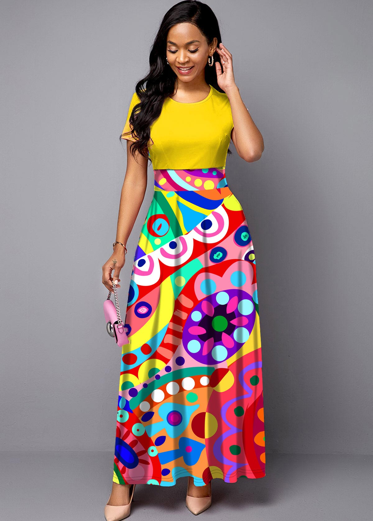 Short Sleeve Geometric Print Round Neck Maxi Dress