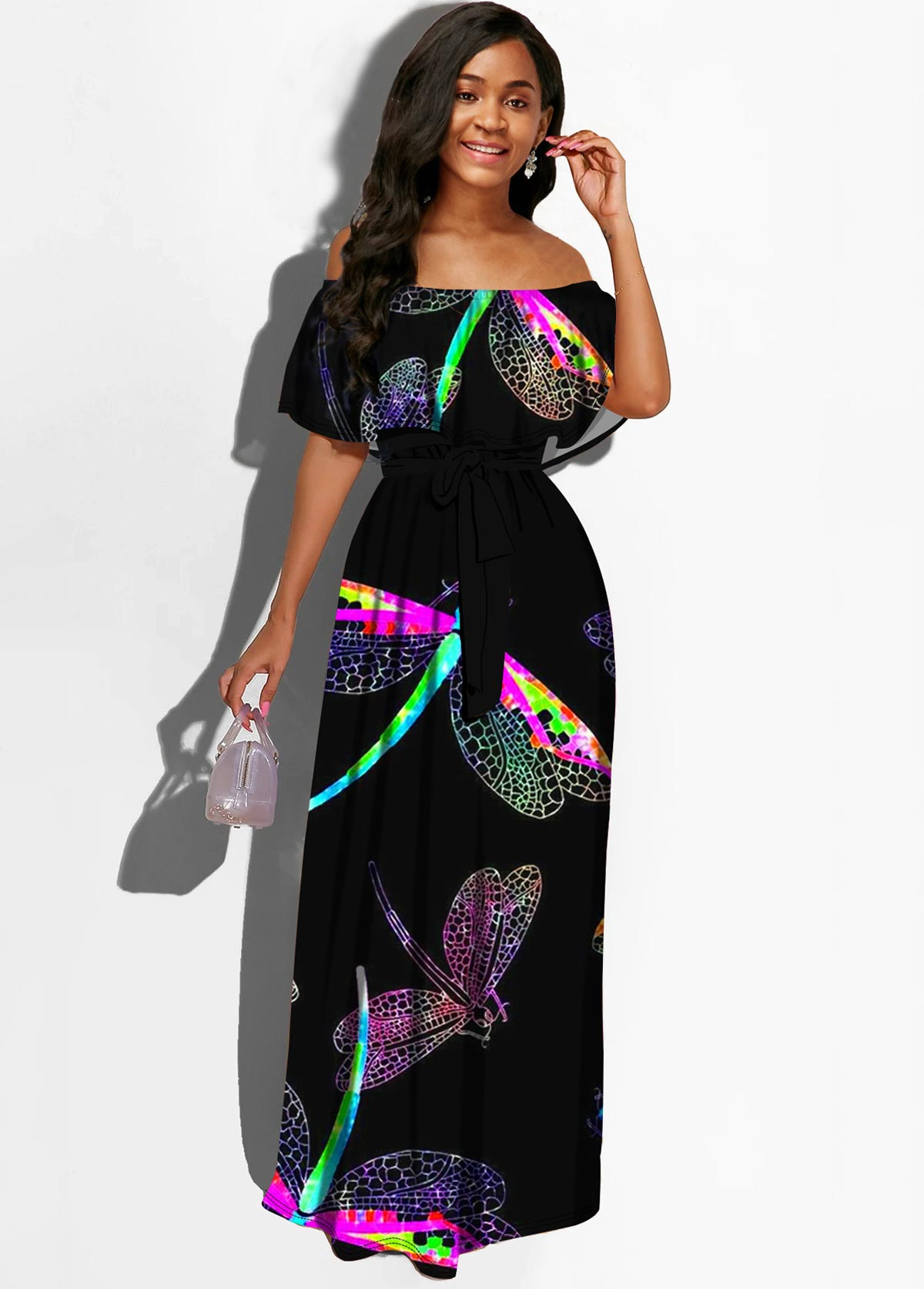 Dragonfly Print Off the Shoulder Belted Dress
