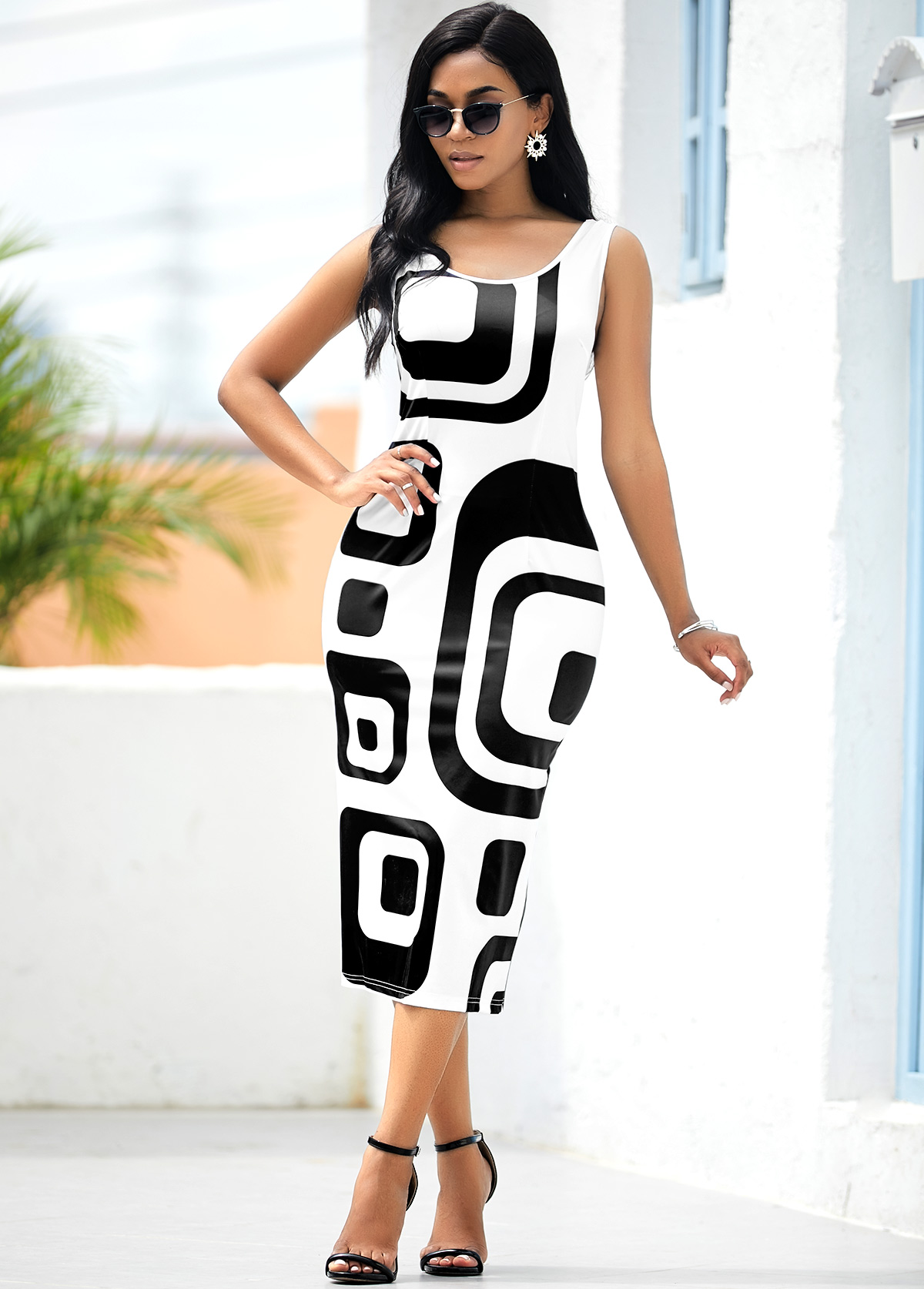 Sleeveless Geometric Print White Bodycon Dress