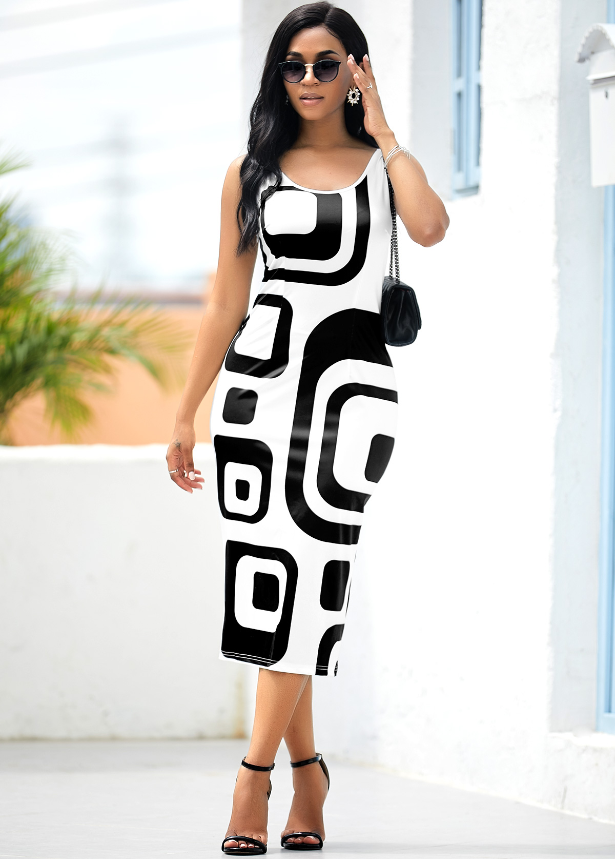 Sleeveless Geometric Print White Bodycon Dress
