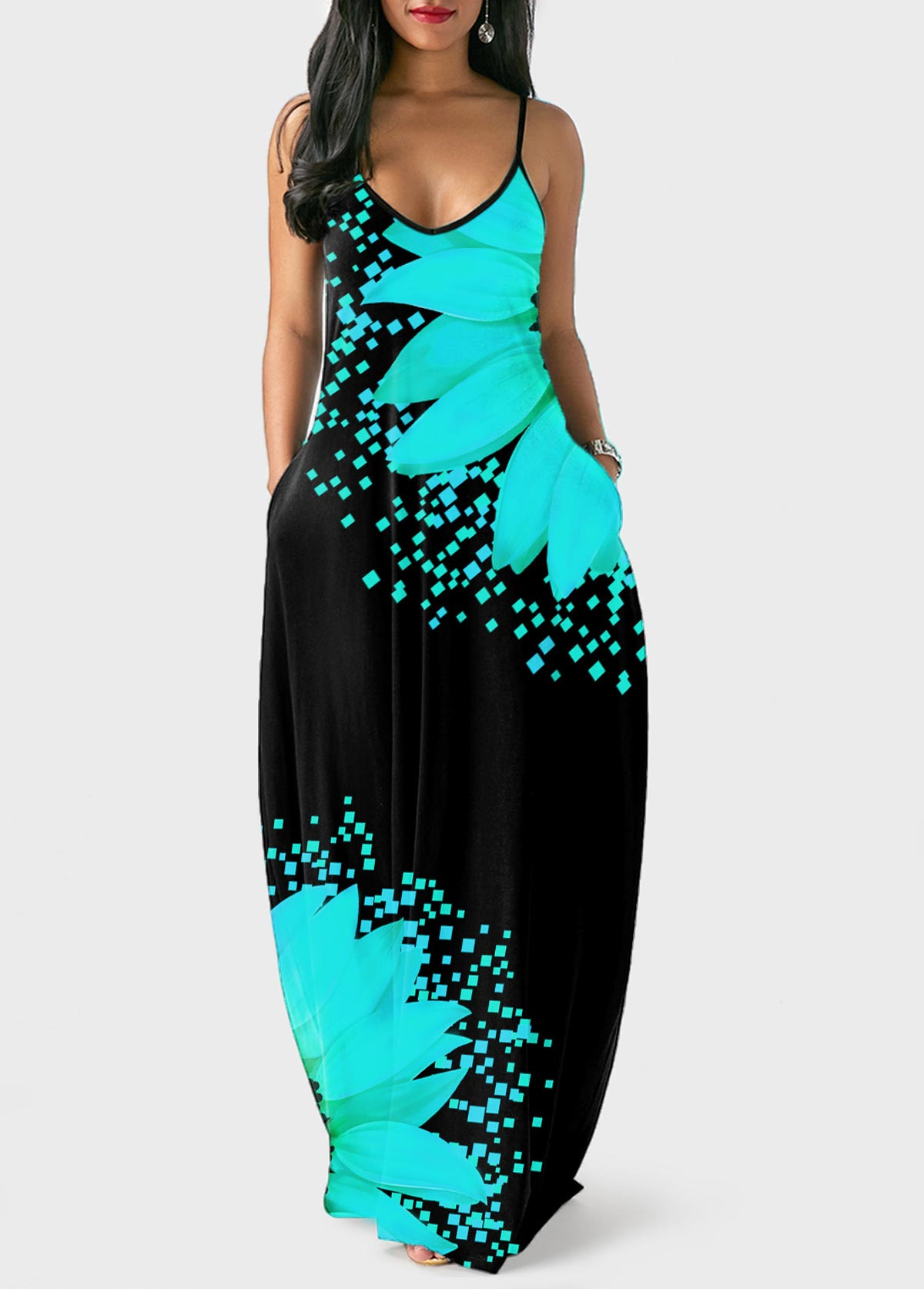 Side Pocket Sunflower Print Spaghetti Strap Dress