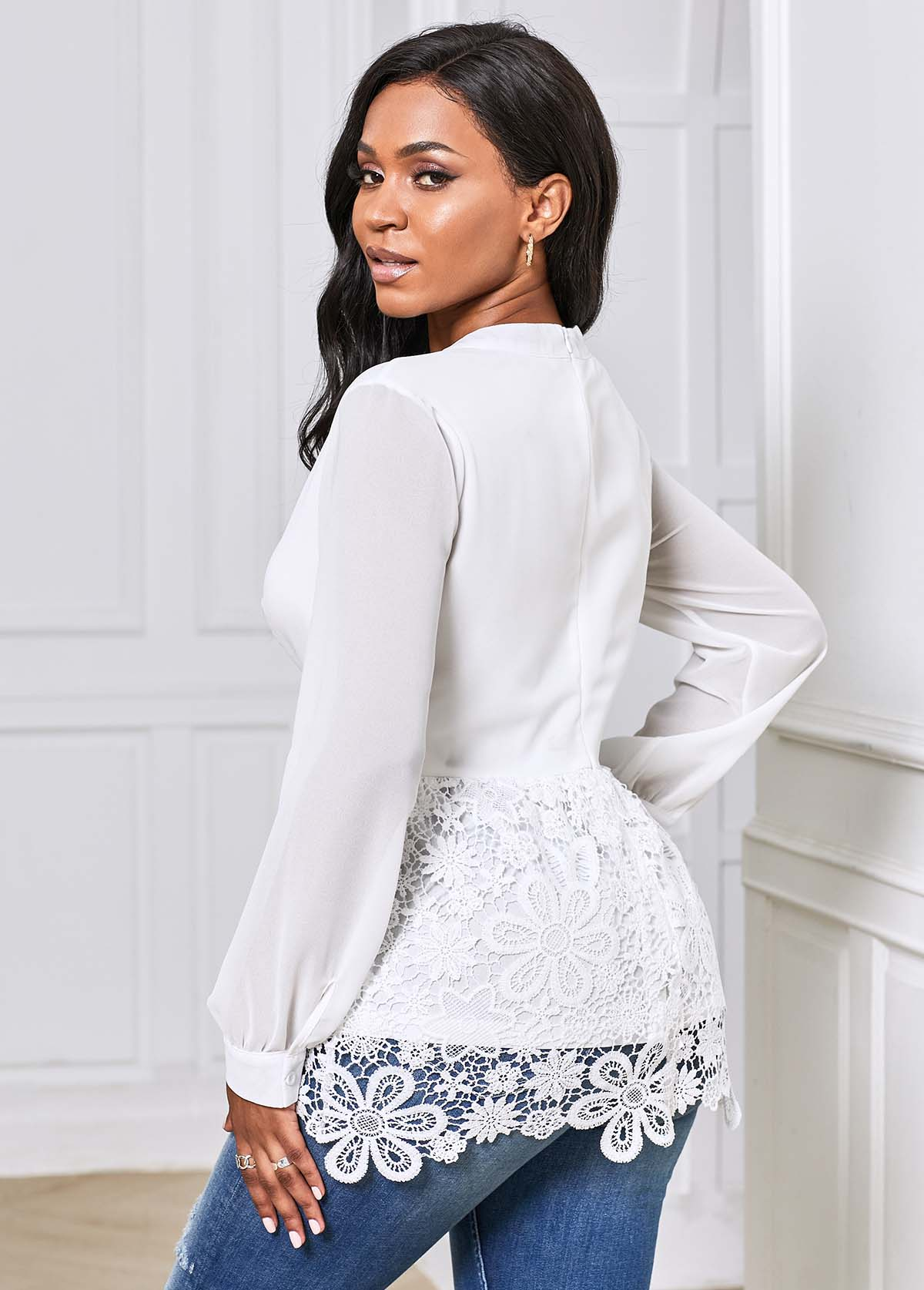 White Lace Panel Long Sleeve Blouse