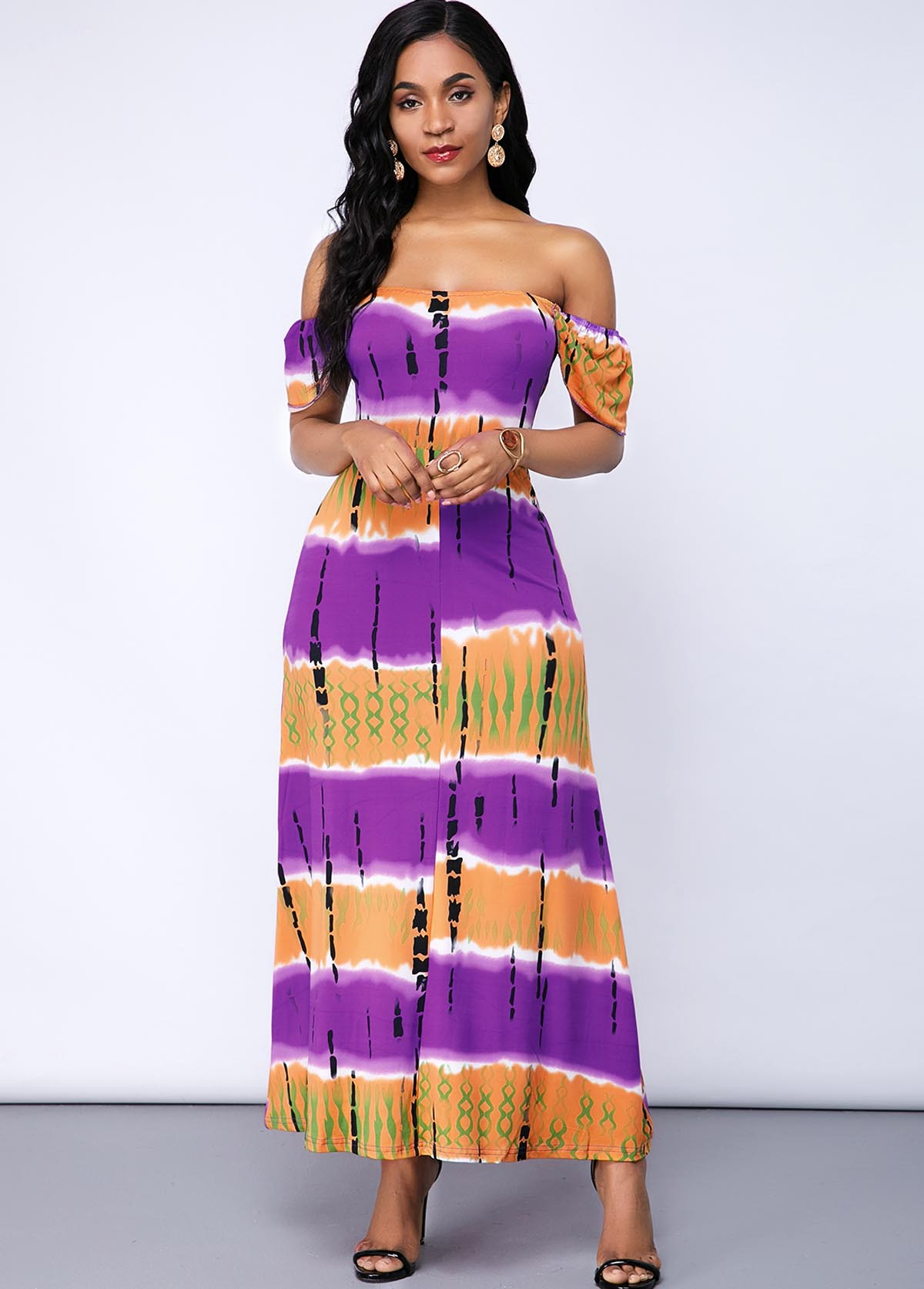 Short Sleeve Off the Shoulder Printed Maxi Dress