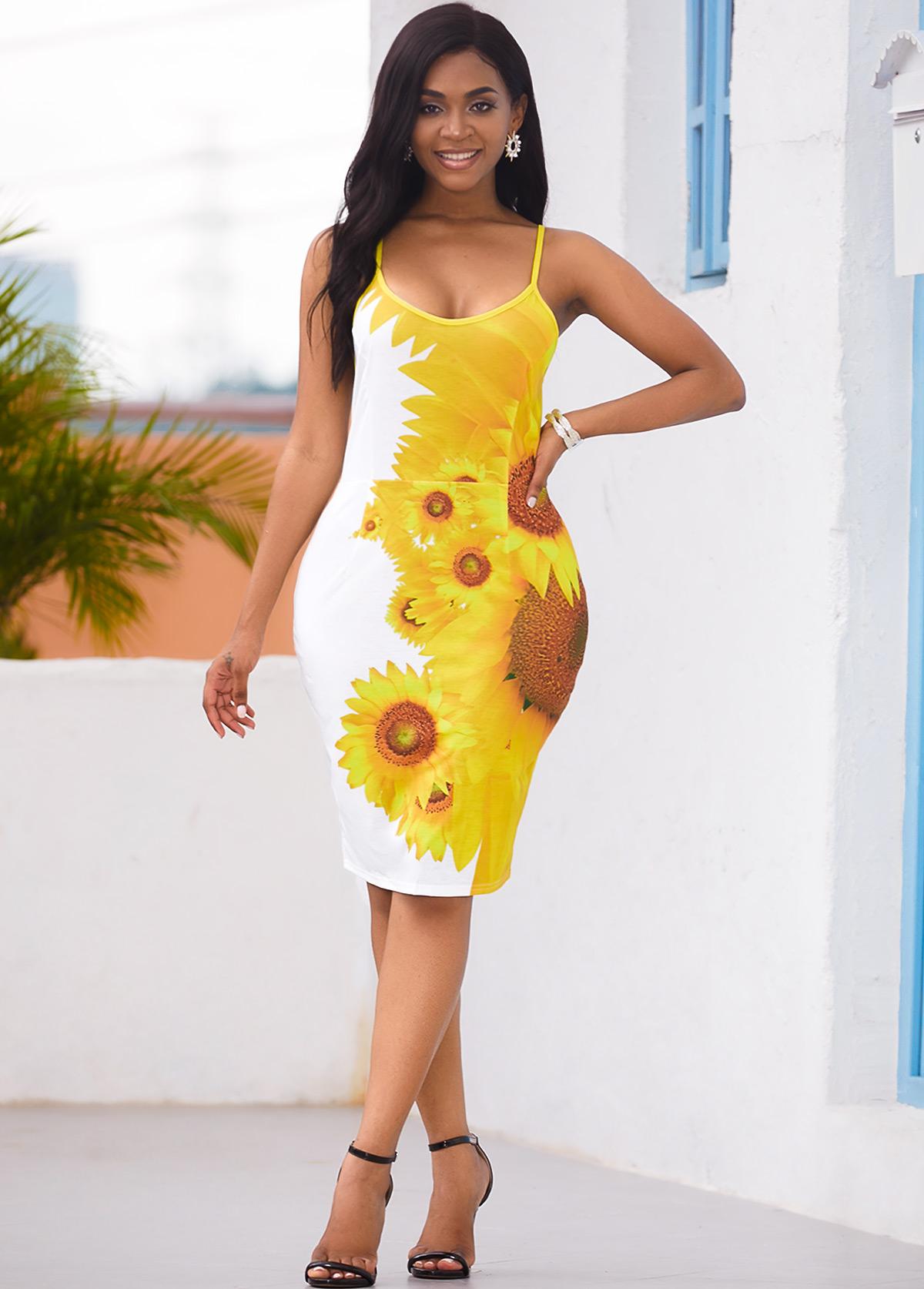 Back Slit Sunflower Print Spaghetti Strap Dress