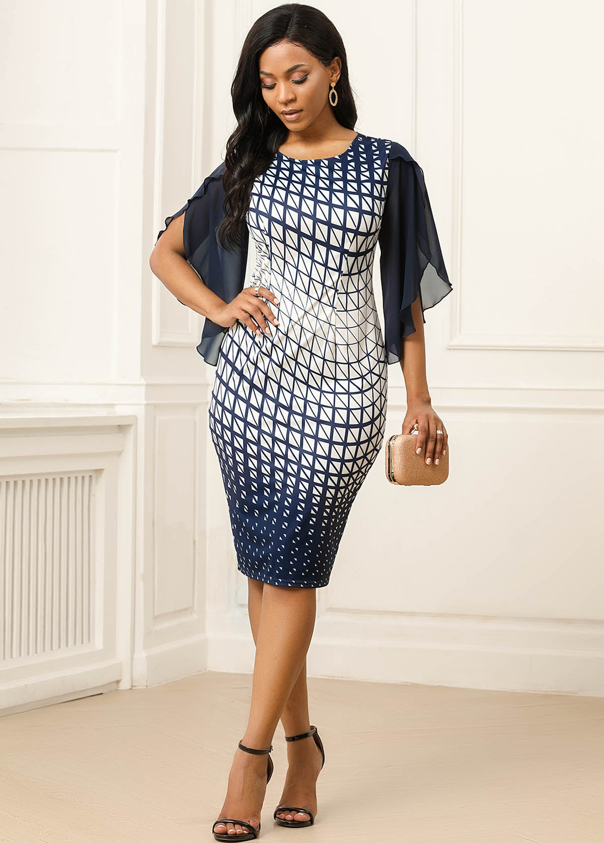 Asymmetric Sleeve Geometric Print Back Slit Dress