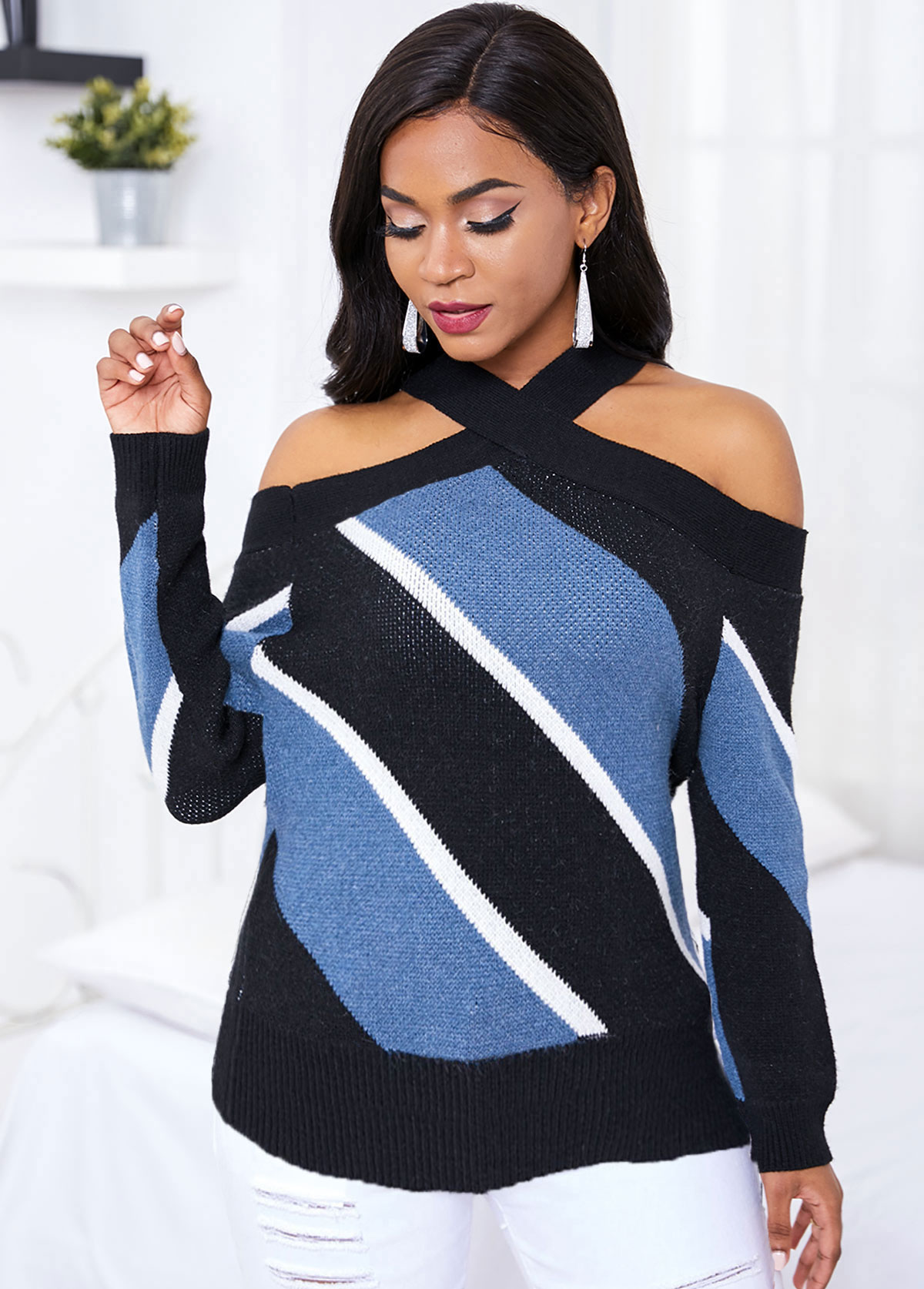 Long Sleeve Cold Shoulder Contrast Striped Sweater
