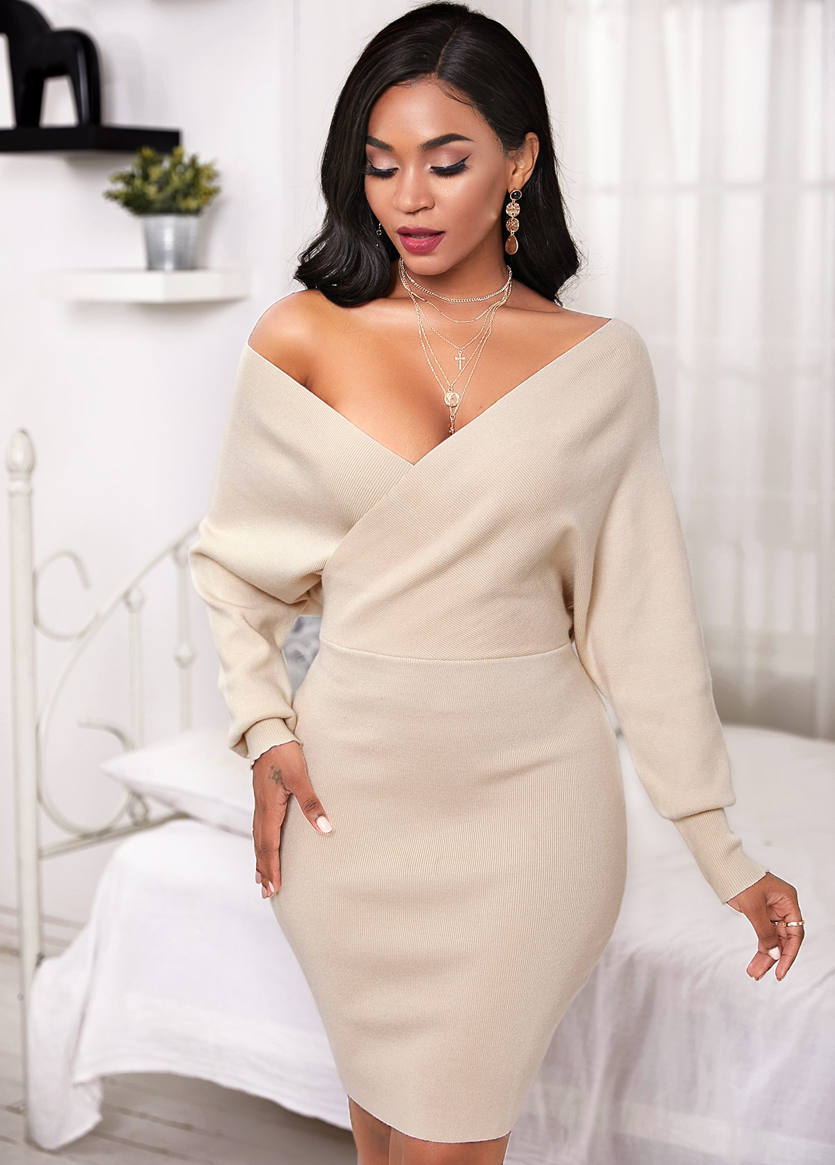Crossover Batwing Sleeve V Neck Sweater Dress