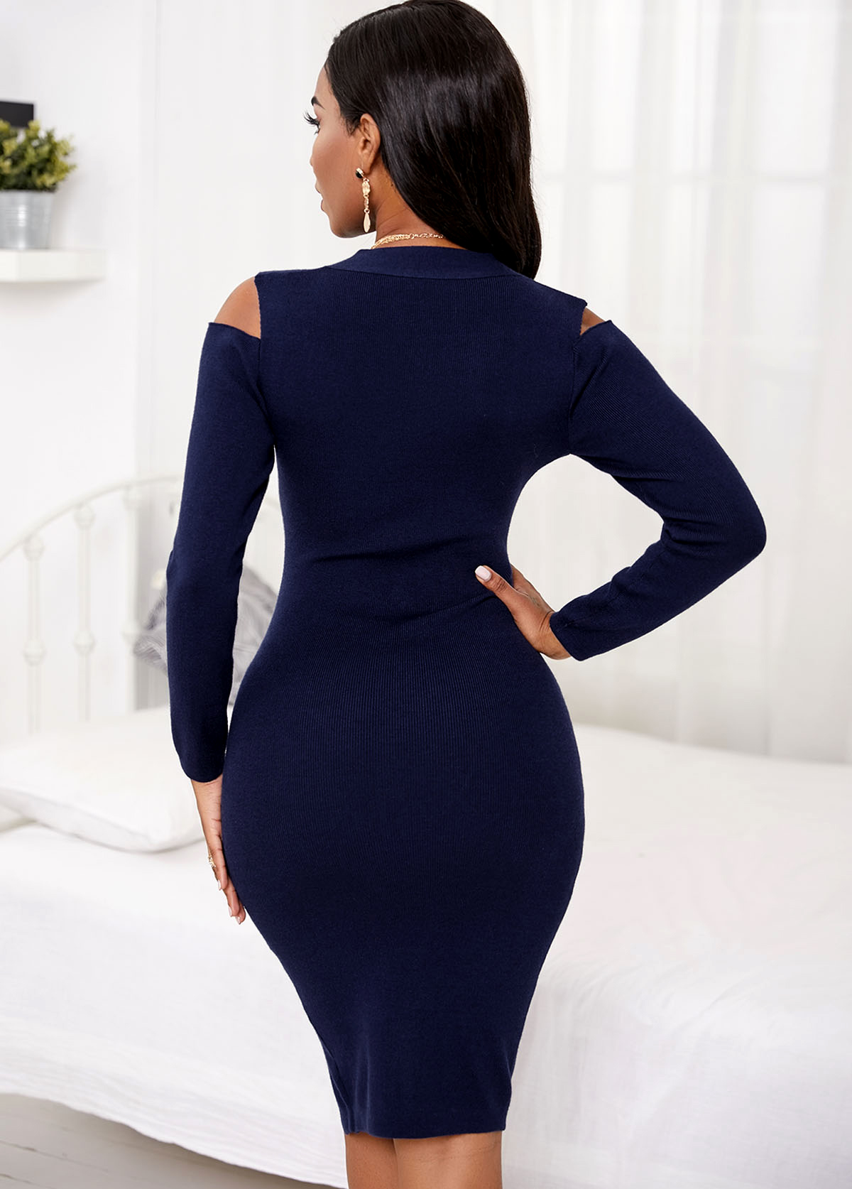 Long Sleeve Cold Shoulder Inclined Button Sweater Dress